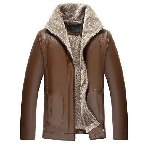 LIERDAR Fur Lined Faux Leather Jacket Winter Thicken Coat Outwear