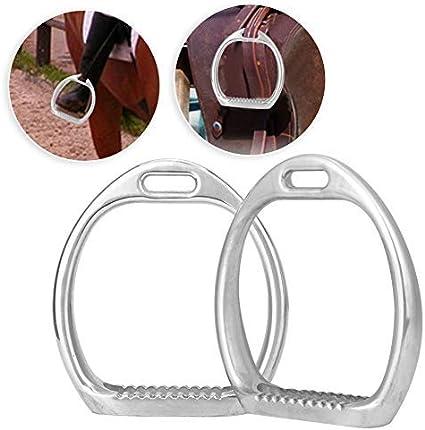 Pssopp 1 par de Aluminio Niños Estribo Ligero Almohadilla Deportes ecuestres Montar a Caballo Silla de Montar Niños Estribos para la Seguridad de la Silla de Montar