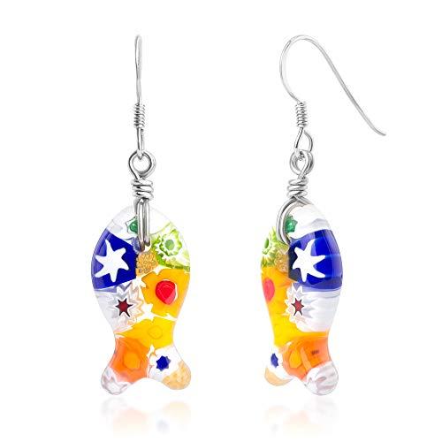 "- 925 Sterling Silver Millefiori Murano Glass Multi-Colored Ichthys Fish Dangle Earrings 1.65"""