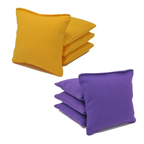 Free Donkey Sports ACA Regulation Cornhole Bags (Set of 8) (Purple and Yellow) 25+ Colors to Choose - Bean Sports Bag Theme