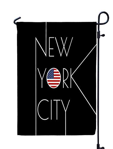 GROOTEY Welcome Outdoor Garden Flag Home Yard Decorative 12X18 Inches New York City Typography Circle USA Flag NYC Banner Poster Sport Print Apparels Graphic Double Sided Seasonal Garden Flags]()