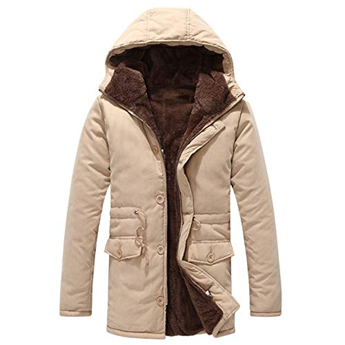 Big Protion,Men's Thick Plus Velvet Cotton Hoodie Medium Length Thicker Coat Button Drawsting Outwear