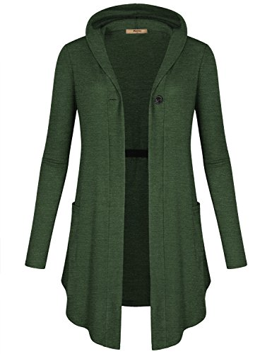 Miusey Open Front Cardigan with Hood, Women Hooded Shirt High Low Flowing New Chic Vacation Nice Fancy Clothes Perfect Resort Wear Vneck Tunic Sweatshirt Top Green ()