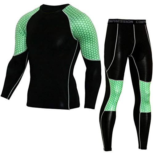 Fitness T-Shirt Men's Elastic Casual Fast Drying Tops Pants Sports Tight Suit Green