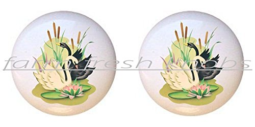 White Swan Pull - SET OF 2 KNOBS - Black and White Swan Cattails Lily Pad Water Lilies - Swans - DECORATIVE Glossy CERAMIC Cupboard Cabinet PULLS Dresser Drawer KNOBS