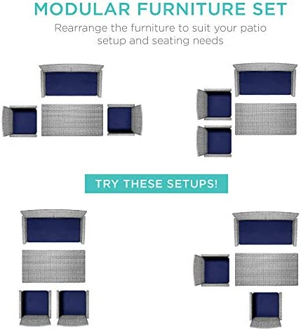"""Best Choice Products 4-Piece Wicker Patio Conversation Furniture Set w/ 4 Seats, Tempered Glass Tabletop - Gray Wicker/Navy Cushions    MODULAR FURNITURE SET: This versatile furniture set features a table, one double sofa, and two single sofas to provide four seats that can be mixed & matched to your sitting spaceDURABLE MATERIALS: All-weather wicker is handwoven over a steel frame for lasting durability, while weather-resistant cushions prevent fading and wear from the wind and rainGLASS TABLE TOP: The wicker coffee table comes with a removable, tempered glass top to create a smooth, sturdy surface for food and drinksMACHINE-WASHABLE COVERS: Removable cushion covers come out clean with warm soap and water to maintain a clean, plush appearance for years to comeGREAT FOR OUTDOOR SPACES: The perfect way to enhance your backyard, balcony, patio, and other outdoor sitting spaces; DOUBLE SOFA: 43""""(L) x 24""""(W) x 31""""(H), SINGLE SOFA (each): 23.5""""(L) x 24""""(W) x 31""""(H), COFFEE TABLE: 35""""(L) x 18""""(W) x 17.5""""(H)"""