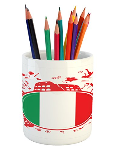 Italian Flag Pencil Pen Holder by Lunarable, Soccer Player Pizza Ice Cream Silhouette National Culture Doodle, Printed Ceramic Pencil Pen Holder for Desk Office Accessory, Vermilion Green White