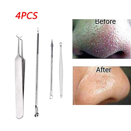 Little Story Stainless Blackhead Facial Acne Spot Pimple Remover Ear Extractor Tool Comedone 4Pcs ()