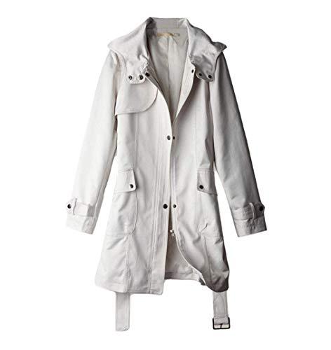 couleurs poches épaissir hiver moderne devant beige cuir simple style unies manteau longues Manteaux ceinture femmes de capuchon manches bouton inclus veste xtqPwWIY4