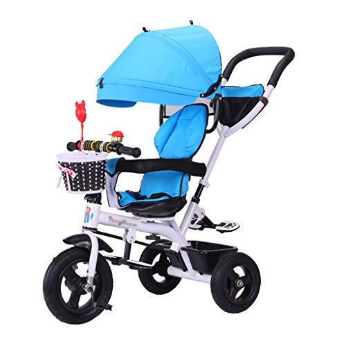 (Unique Stroller Trike Bike Push and Ride Baby Trolley with Brakes and Demountable Awning Folding Kids' Tricycle for 6 Months - 6 Years Old Blue)