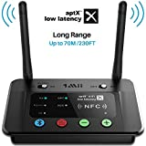 1Mii B03 Long Range Bluetooth Transmitter Receiver Bluetooth Audio Adapter Bluetooth Transmitter, aptX Low Latency & HiFi Sound, Optical RCA AUX 3.5mm for TV PC Home Stereo