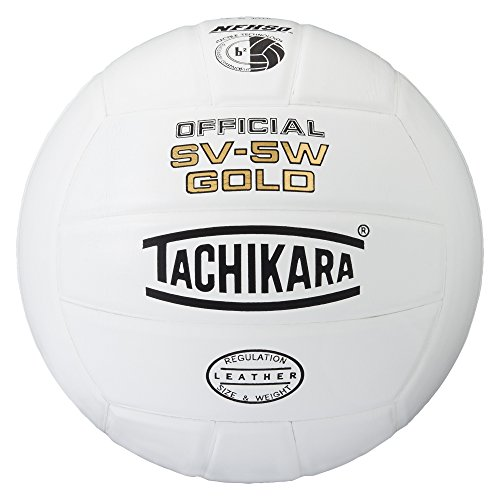 Tachikara SV5W Gold Competition Premium Leather Volleyball (White)