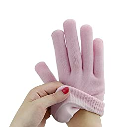 Gel Moisturizing Spa Gloves and Socks, Povihome Beauty Healthy for Men and Women Cracked Skin, Whitening Beauty (2 Pairs/4 Pcs, Pink)