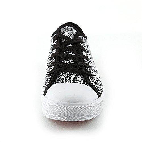 Idé Ramar Barn Mens Womens Flyknit Andas Tillfälliga Låga Sneakers Vit / Svart