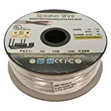 Installerparts 250Ft 16AWG/2C In-wall Speaker Wire, OFC CL2 UL OD-6.2mm White Jacket