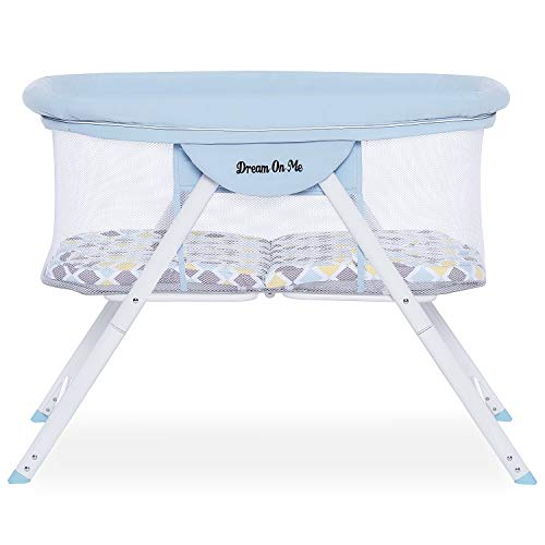 Dream On Me Poppy Traveler Portable Bassinet in Brown and Blue