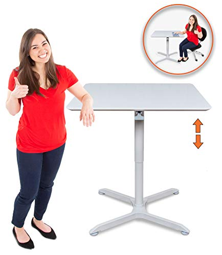 Height Adjustable Standing Square Table | Sit to Stand Up Café Table - Easily Adjusts in Seconds! | Includes 4 Casters & Leveling Feet | Perfect use for Offices, Schools & More! (36 Inch/White) ()