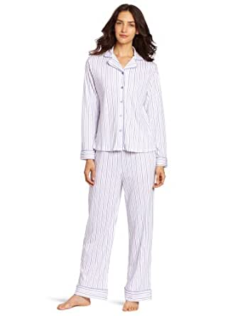 White Orchid Women's Lucky 8 Retreat Long Sleeve Pajama Set, Purple, Medium
