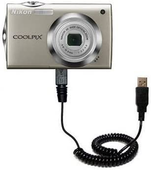 Gomadic Unique Coiled USB Charge and Data Sync cable compatible with Nikon Coolpix S4000 Built with TipExchange Charging and HotSync functions with one cable