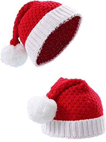 Sumind 2 Pieces Santa Hat Christmas Red and White Knitted Christmas Caps Winter Hat Xmas Hats (Adult -