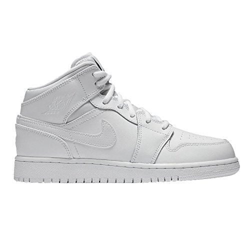 fc02dd88aeea26 Galleon - Nike Jordan Kids Air Jordan 1 Mid Bg White Black White Basketball  Shoe 6 Kids US
