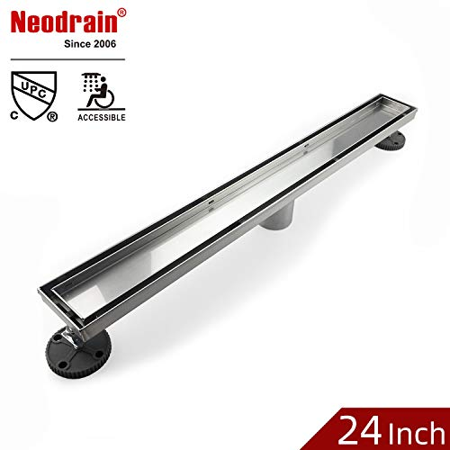 - Neodrain 24-Inch Linear Shower Drain- With 2-in-1 Flat & Tile insert Cover,Brushed 304 Stainless Steel Rectangle Shower Floor Drain,Floor Shower Drain With Adjustable Leveling Feet,Hair Strainer
