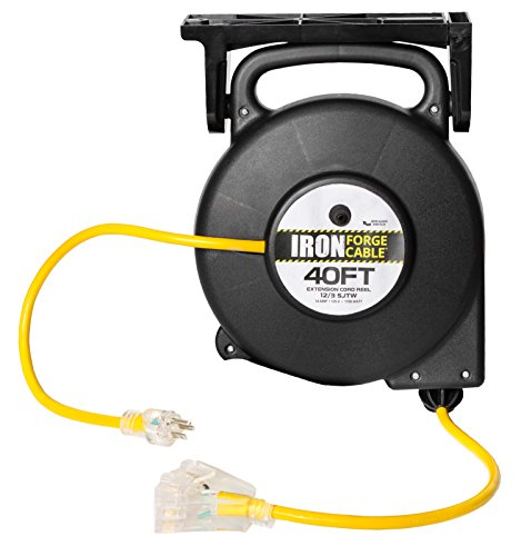 40 Ft Retractable Extension Cord Reel - 2 In 1 Mountable & Portable Power Cord Reel with 3 Electrical Outlets - 12/3 SJTW Heavy Duty Yellow Cable - Perfect for Hanging from Your Garage Ceiling 40' Retractable Cord Reel