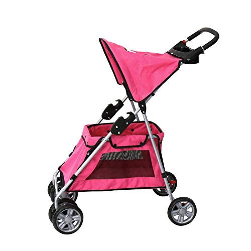 Peach Tree Four Wheel Pet Stroller, Cat Dog Walk Travel Foldable Folding Carrier Strolling Cart