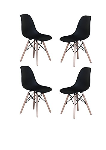 Modern Set of 4 Eames Style Chair Natural Wood Legs (Black)