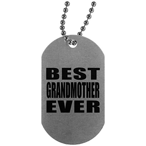 (Best Grandmother Ever - Silver Dog Tag Military ID Pendant Necklace Chain - Fun-ny Gift for Family Mom Dad Kid Grand-Parent Mother's Father's Day Birthday Anniversary)