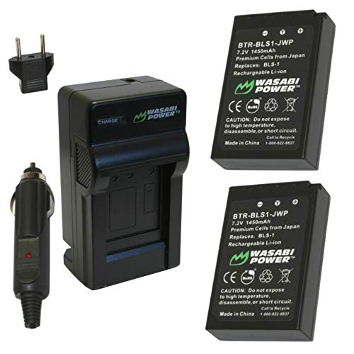 Wasabi Power Battery (2-Pack) and Charger for Olympus BLS-1, PS-BLS1, E-420, E-450, E-600, E-620, Pen E-P1, E-P2, E-P3, E-PL1, E-PL3, E-PM1