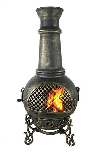 The Blue Rooster CAST Aluminum Gatsby Chiminea with Gas and a 10' Hose in Gold Accent. Also Comes with a Free Year Round - Cast Gatsby Aluminum Chiminea
