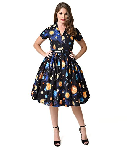 [Bernie Dexter 1950s Style Black Outer Space Print Drive In Cotton Swing Dress] (Magic School Bus Costume)