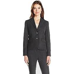 Jones New York Women's Washable Suiting Short 2 BTN Jacket, Pewter Heather, 10