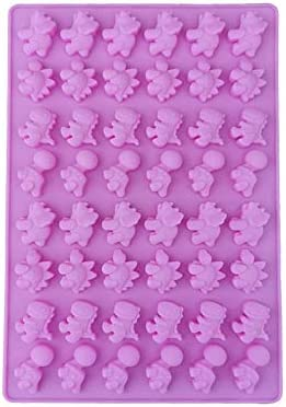 Beicai 48 Holes Cute Dinosaur Silicone Cake Molds Gummy Chocolate Mold Candy Fondant Mould Ice Cube Tray Baking Cake Decorating Tools (Color : Pink, Size : Australia-Dinosaur)