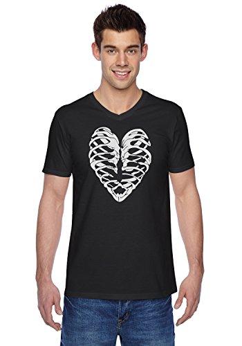 [TeeStars - Heart Skeleton Rib Cage - Cool Halloween Easy Costume V-Neck T-Shirt XX-Large Black] (Rock And Roll Costume Ideas For Men)