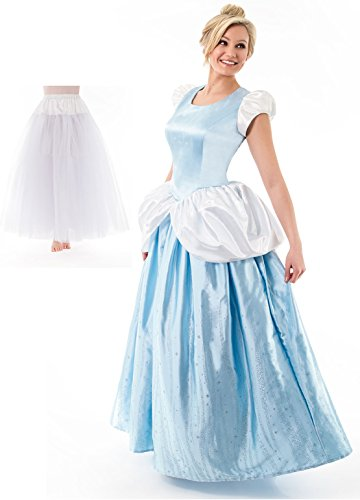 [Little Adventures Adult Cinderella Dress and Fullness Slip (Medium)] (Cinderella Fancy Dress Adult)
