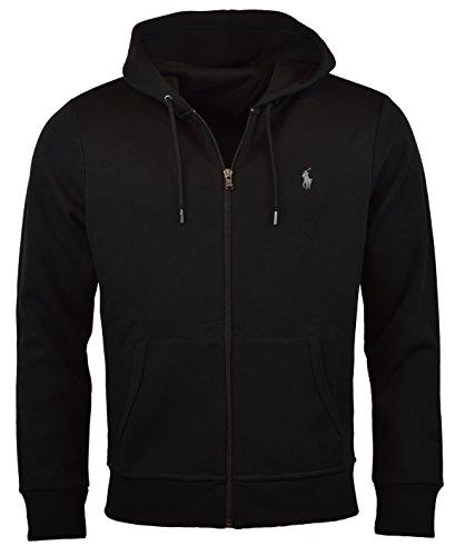 Polo Ralph Lauren Men's Double-Knit Full-Zip Hoodie, M, Polo Black (Fleece Ralph Lauren Mens)