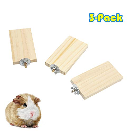 - Genubi Pet Mini Natural Wood Stand Platform Hamster Chinchilla Springboard Wooden Small Animal Platform for Cage, 3 Pack