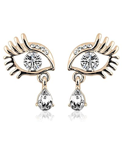 [Konalla Personalized Inlaid Crystal Eyes Drop-shaped Pendant Earrings,Gold] (Minnie Mouse Costume Nerd)
