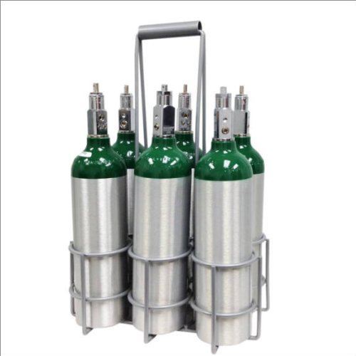 Long Handle Milkman Metal Carrier for M6 Oxygen Cylinders, holds 6 cylinders
