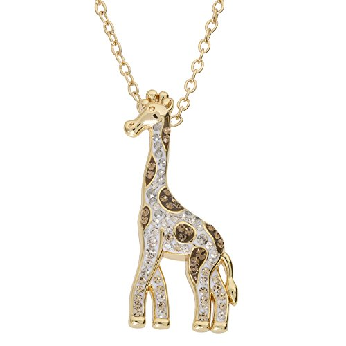 CRYSTALOGY Women's Jewelry, Sterling Silver Crystal Giraffe Animal Pendant Necklace, 18