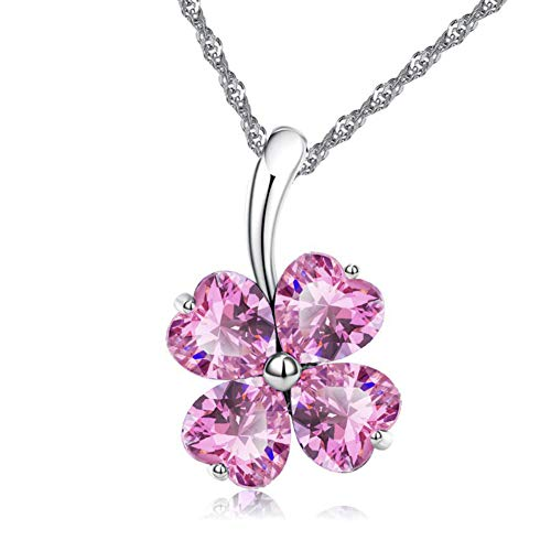 ATDMEI Lucky Charm Four Leaf Clover Pendant Necklace for Women Girls Sterling Silver Plated Pink Zircon Best Friends Jewelry Gifts