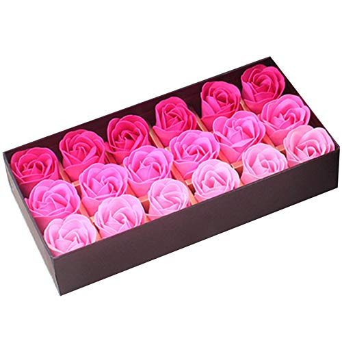 18PCS Bath Soaps Rose Flower Body Soap Gift Box for Valentines Day Wedding Day (Gradient Pink)