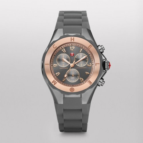Michele Tahitian Smoke Dial SS Gray Sil Chrono Quartz Ladies Watch MWW12F000064 - Michele Tahitian Jelly Bean