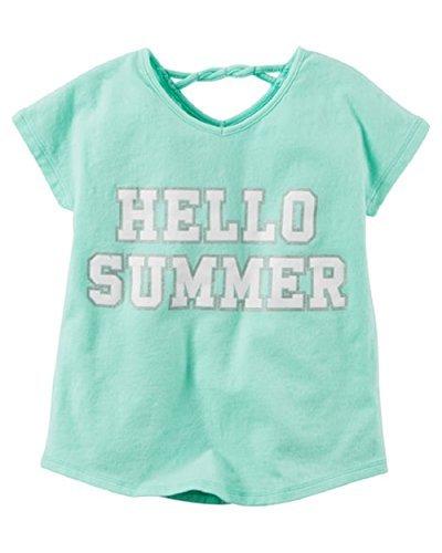 Carter's Little Girls' Stretch Cotton ''Hello Summer'' Glitter Tee (5t)