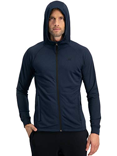 Sweatshirts for Men Zip Up Hoodie - Dry Fit Full Zip Jacket, French Terry Fabric Navy Blue - Hood Hoody Jacket