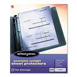 Wilson Jones - 2 Pack - Economy Weight Sheet Protector Non-Glare Finish Clear 100/Box \