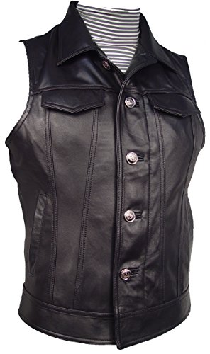 Nettailor 1129 Leather Sleeve Jean Jacket Biker Vest for ...