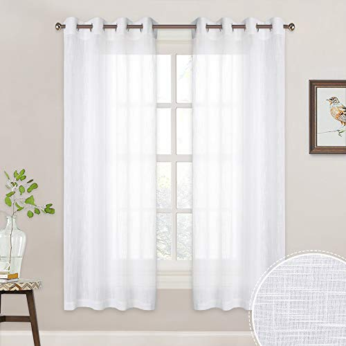 RYB HOME Semi-Sheer White Curtains - Linen Textured Fabric Sime Transparent Light Filtering Privacy Drapes for Living Room Bedroom Kitchen Office Bathroom, Width 52 x Length 63 inche, 2 Panels (Drapes Privacy)